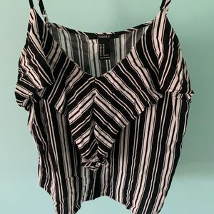 Forever 21 Striped Tank Top, Size M! Black/white.